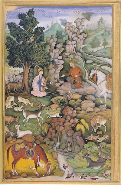 Miskin: Bahram Gur Sees a Herd of Deer Mesmerized by Dilaram' s Music, from Dihlavi: Khamsa, 1597-98 (Metropolitan Museum of Art)