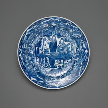 Dish with Europeans Playing Musical Instruments, 1661-1722 (Art Institute of Chicago)