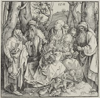 Dürer: The Holy Kinship and Two Musical Angels, 1511 (Art Institute of Chicago)