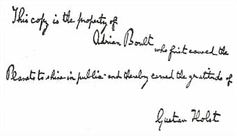 Holst's inscription for The Planets