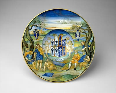 Nicola da Urbino: Armorial Plate with the Story of King Midas, ca. 1520-25 (Metropolitan Museum of Art)
