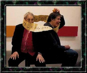 Nicolas Slonimsky with John Cage (With permission by Electra Slonimsky Yourke)