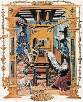 A printing workshop in the Renaissance period