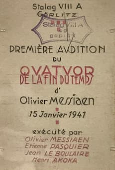 Invitation to the premiere of Messiaen's Quartet for the End of Time