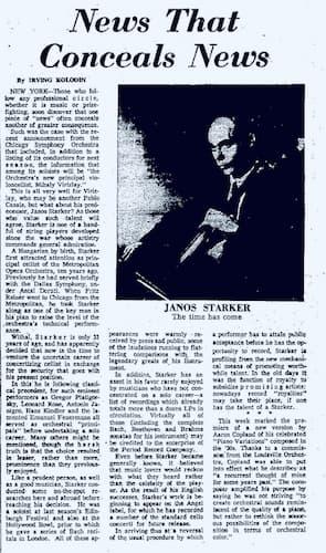 János Starker leaves CSO