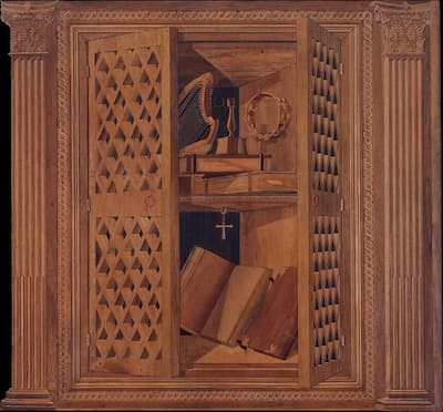 Panel 8: cupboard with books, harp and tuning key, wooden ring with two rows of jingles, and brass candlestick, ca. 1478-1482 (Metropolitan Museum of Art)