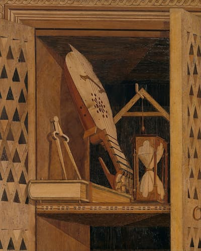 Panel 9, Detail 2: upper section of cupboard, with dividers, cittern, sandglass, plumb bob and set square, ca. 1478-1482 (Metropolitan Museum of Art)