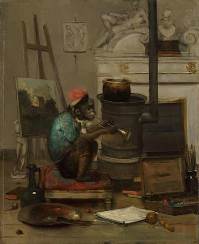 Antoine Vollon: Monkey in a Studio, 1869 (Philadelphia Museum of Art)