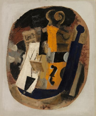 Pablo Picasso: Violin, Sheet Music, and Bottle, 1914 (Barnes Foundation)