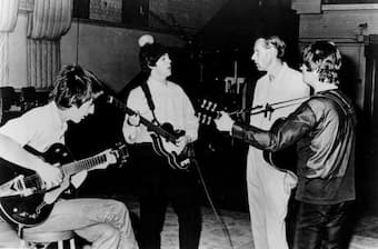 Beatles and George Martin in studio, 1966