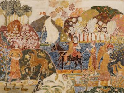 Charles Prendergast: Two Figures on a Mule, c. 1917–1920. (Barnes Foundation)