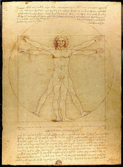 Leonard da Vinci: Vitruvian Man, ca. 1490 (Gallerie dell'Accademia, Venice, Italy)